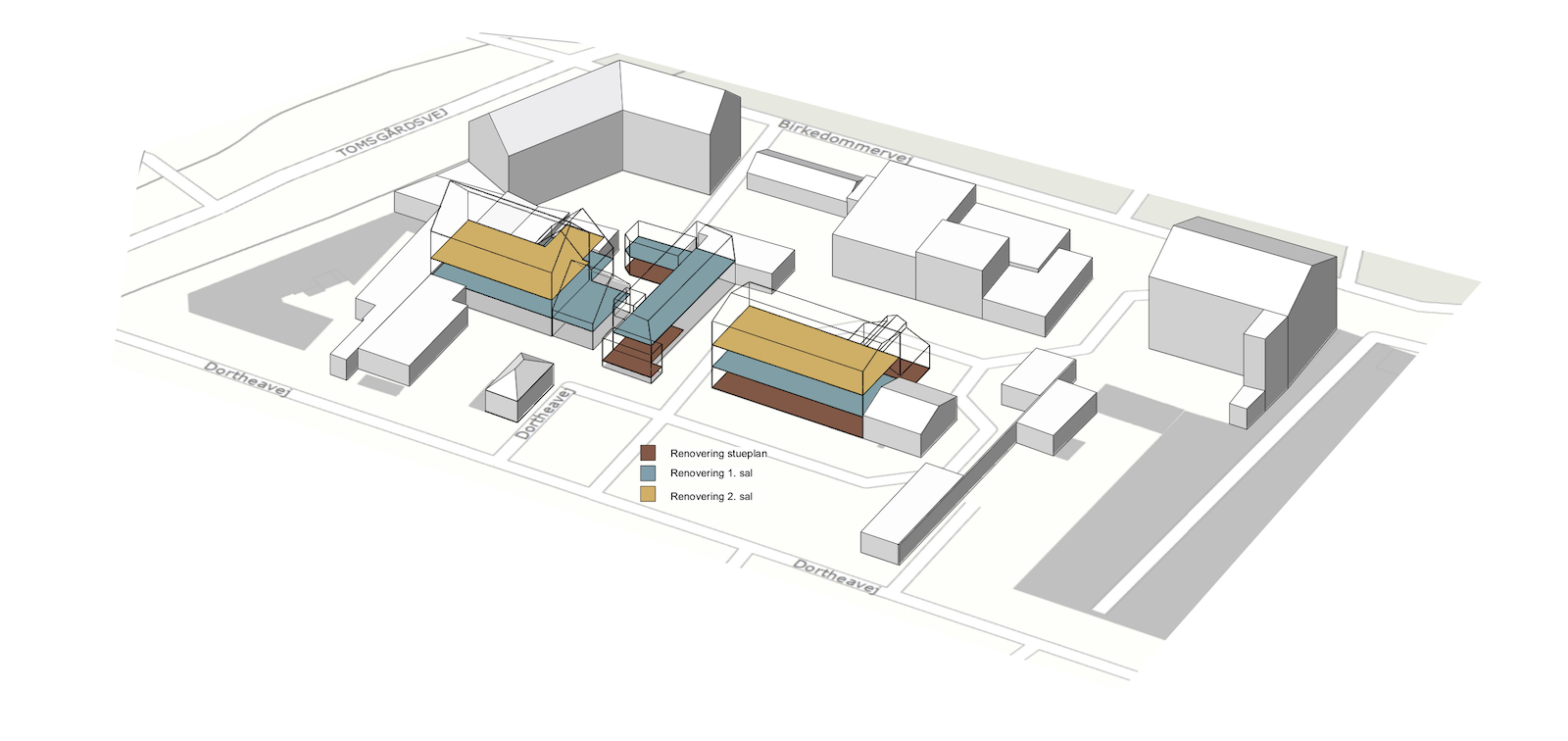 Ombygning af industribygninger til kontorer: Dortheavej 10 og 12 (3D situationsplan)