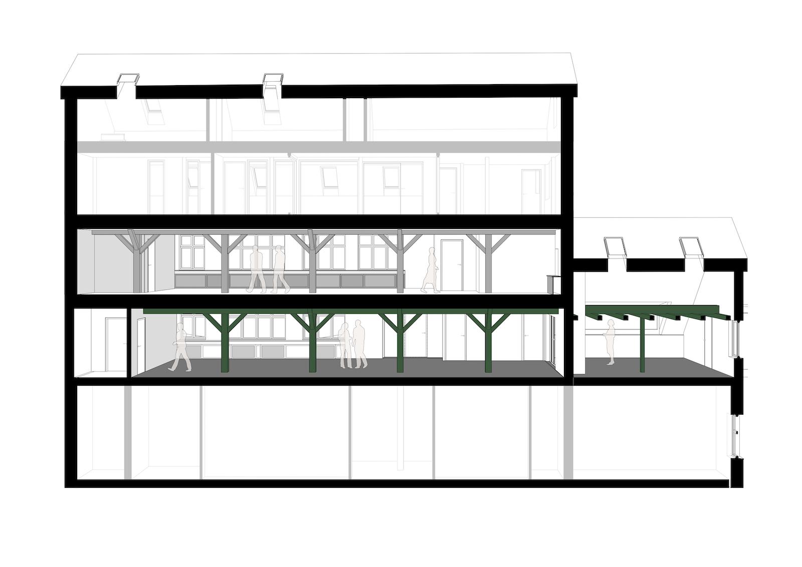 Ombygning af industribygninger til kontorer: Dortheavej 10 og 12 (tegning: Snit C)