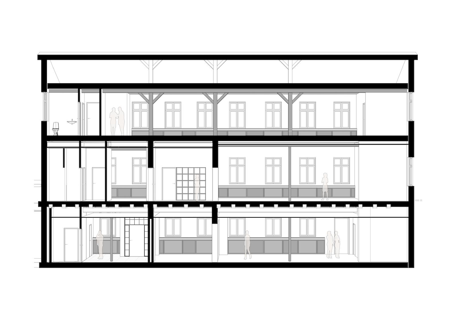 Ombygning af industribygninger til kontorer: Dortheavej 10 og 12 (tegning: Snit F)