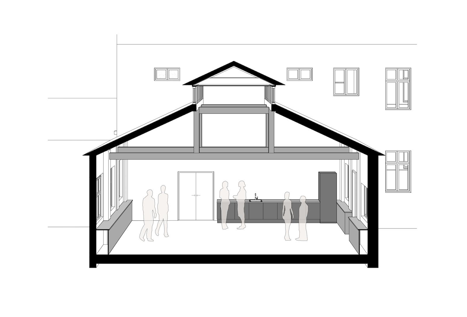 Ombygning af industribygninger til kontorer: Dortheavej 10 og 12 (tegning: Snit kantine F)