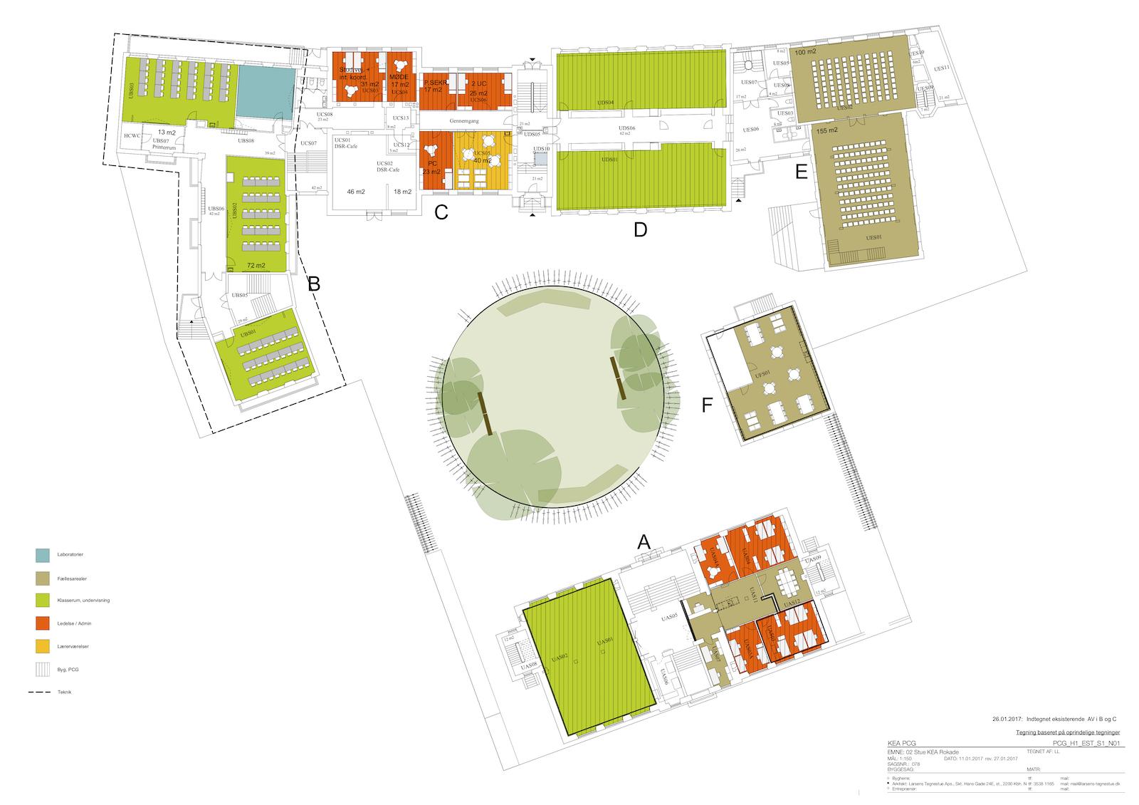 KEA – Københavns Erhvervsakademi, plantegning: Stue A1