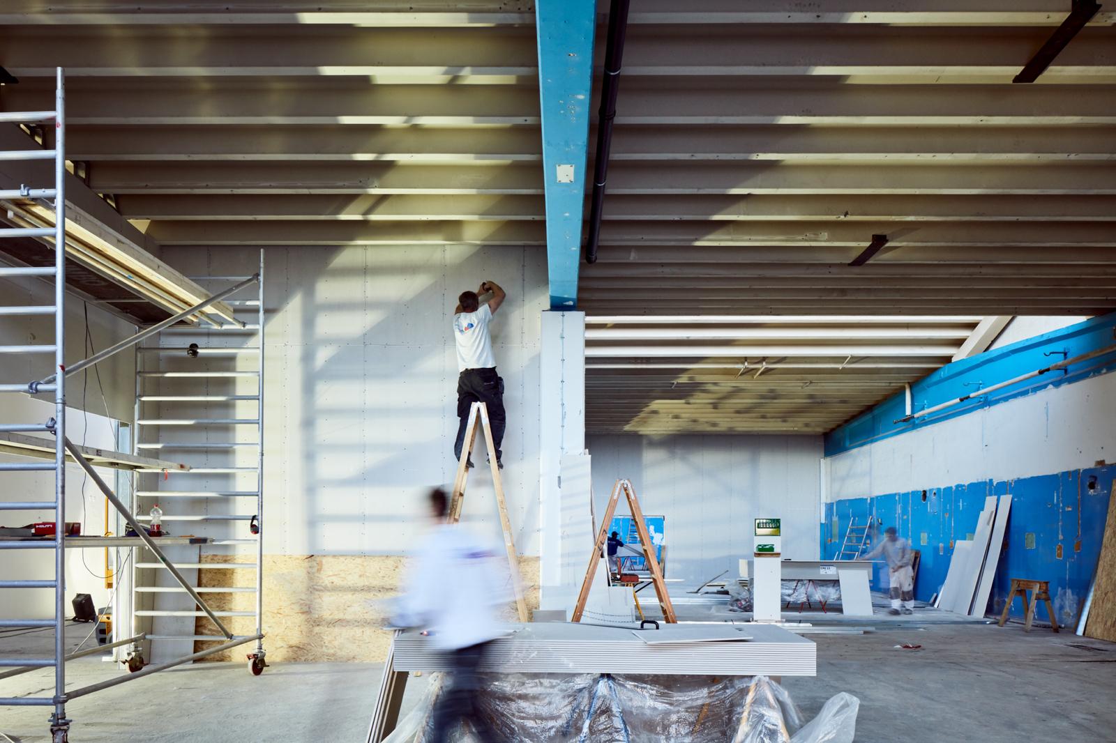 Hal C – Next Uddannelse København (byggeproces, vægge)