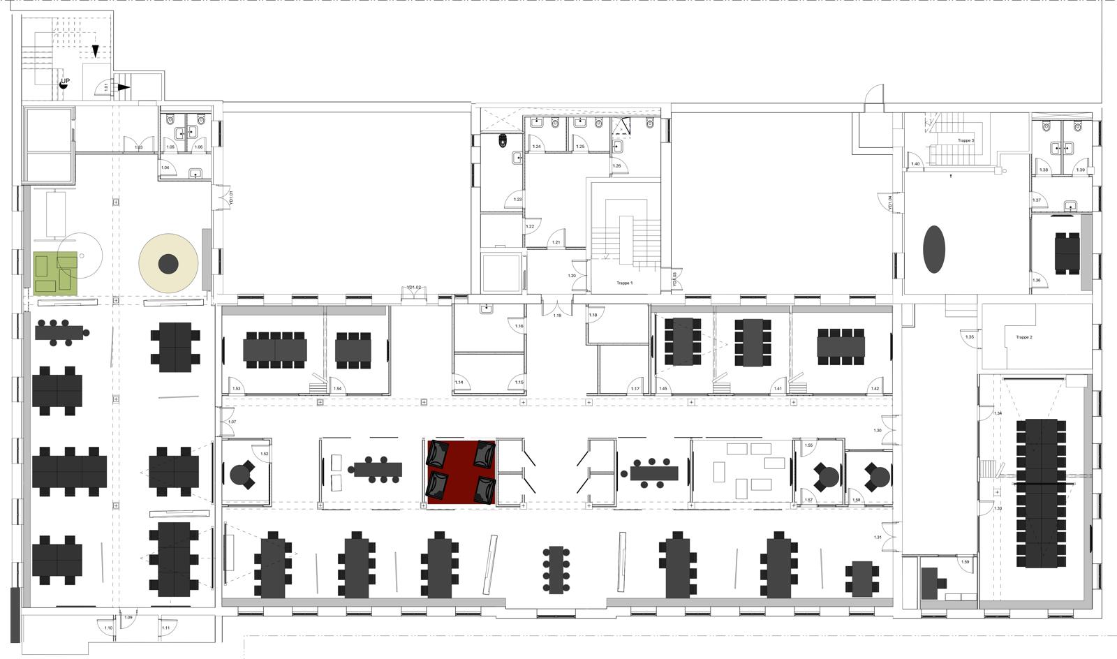 Strandvejen 56, genopbygning efter brand (plantegning 1. sal)