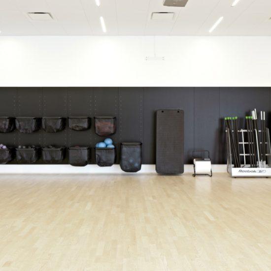 WellCome Fitness Center: Inventar til opbevaring af udstyr til multisal & yoga-/pilatessal.