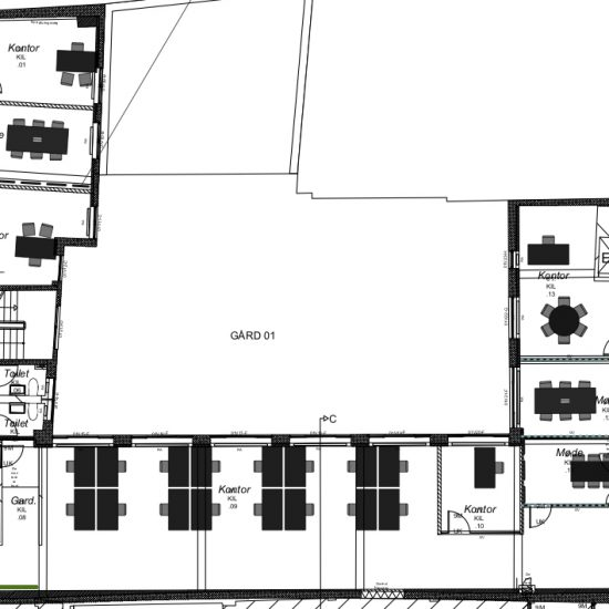 Indretning af hovedkontor – Kilroy Group: Indretningsplan, 1. sal