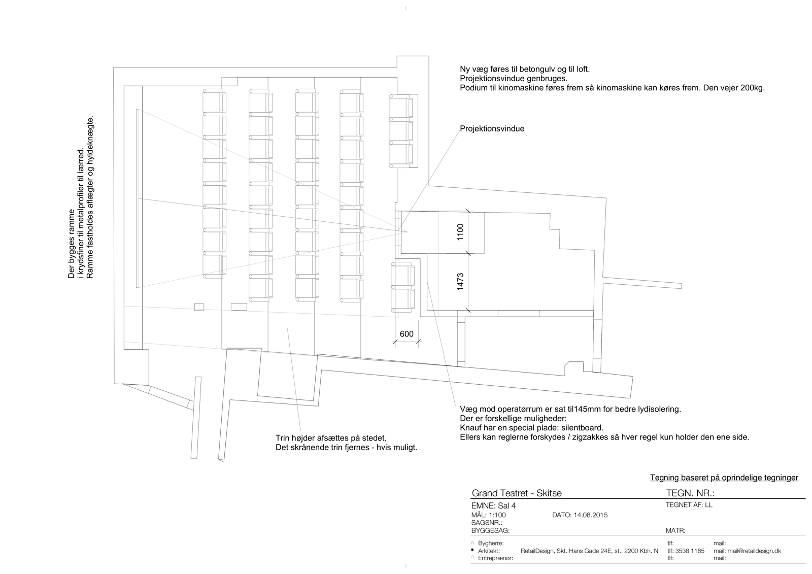 Biograf – Grand Teatret (skitse, sal)